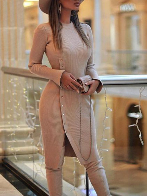 Button Knee-Length Long Sleeve Regular Sheath Dress