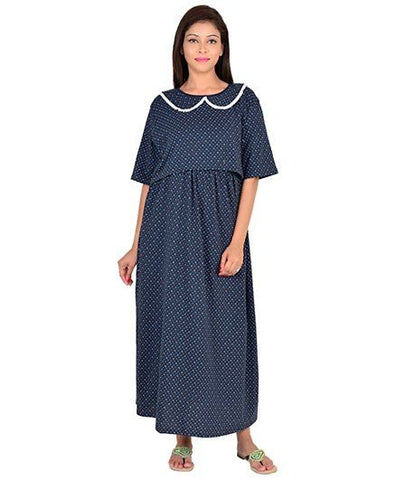 ca5a684270 9teenAGAIN Half Sleeves Maternity Nursing Dotted Nightdress - Blue ...