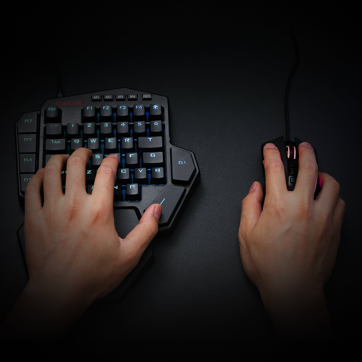Redragon K585 One-handed RGB Gaming Keyboard and M721-Pro Mouse Combo with GA200 Converter