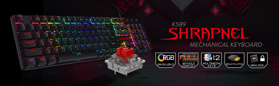 Redragon K589 Shrapnel RGB Low Profile Mechanical Gaming Keyboard