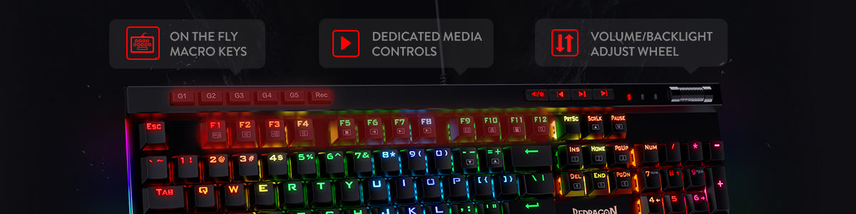 Redragon K580-PRO RGB Backlit Mechanical Gaming Keyboard with optical brown switches