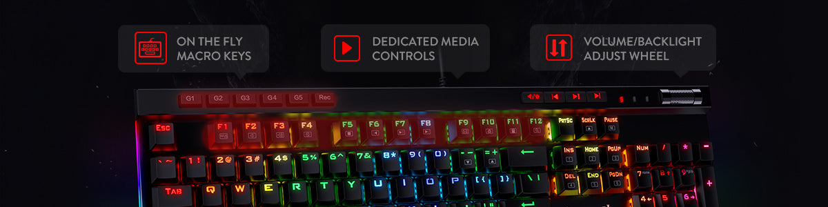 Redragon K580-PRO RGB Backlit Mechanical Gaming Keyboard 104 Keys Anti-ghosting with Macro Keys & Dedicated Media Controls, Onboard Macro Recording