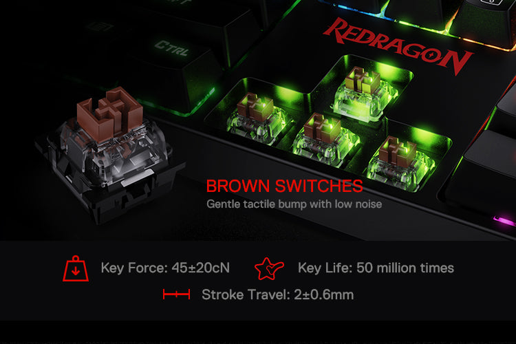 Redragon K582 SURARA RGB LED Backlit Mechanical Gaming Keyboard with104 Keys, Tactile and Low-Noise Brown Switches