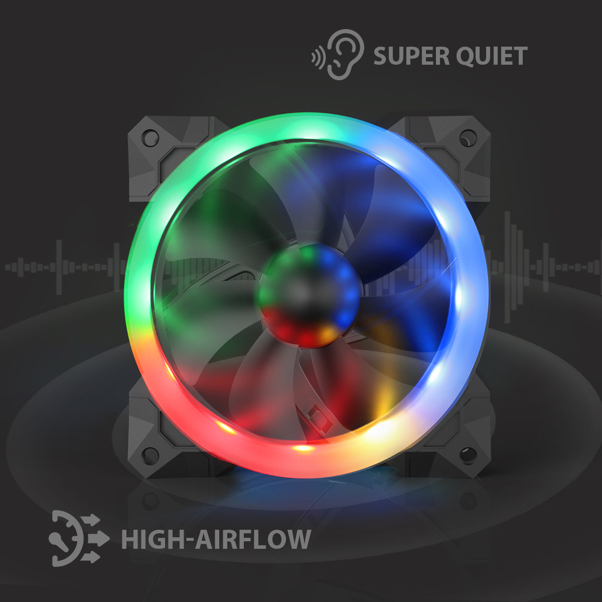 Redragon GC-F008 Computer Case 120mm PC Cooling Fan, RGB LED