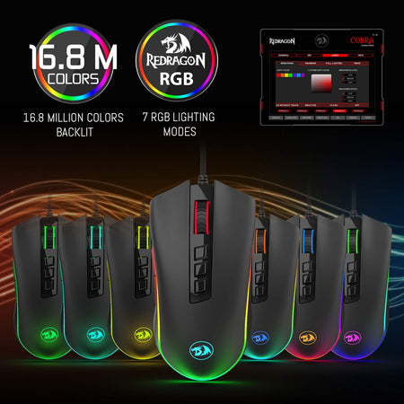 Redragon M711 COBRA Gaming Mouse with 16.8 Million RGB Color Backlit, 10,000 DPI Adjustable, Comfortable Grip, 7 Programmable Buttons
