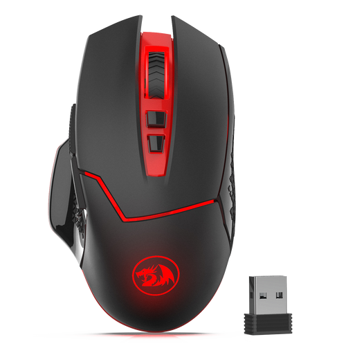 Redargon M690-1 Wireless Gaming Mouse with DPI Shifting, 2 Side Buttons, 2400 DPI, Ergonomic Design, 7 Buttons-Black