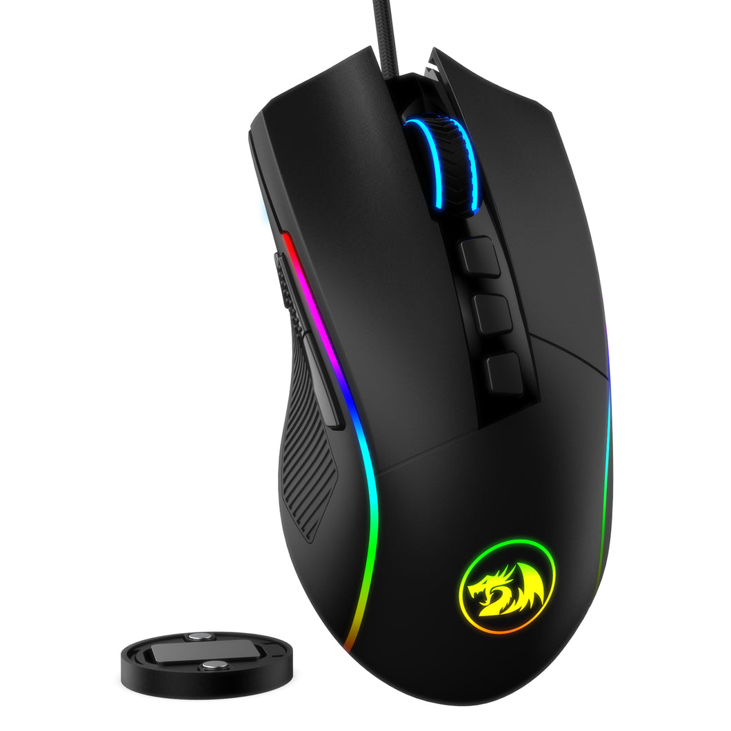 Redragon M721-Pro Lonewolf2 Gaming mouse, Wired Mouse RGB Lighting, 10 Programmable Buttons, 32,000 DPI Adjustable, Comfortable Grip Ergonomic Optical PC Computer Gaming Mice with Fire Button