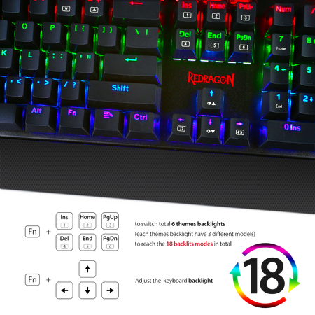 Redragon K557 RGB Backlit Waterproof Mechanical Gaming Keyboard with Blue Switches, Anti-ghosting 104 Keys