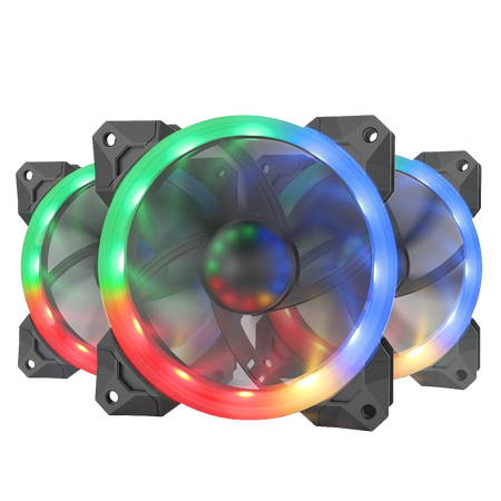 Redragon GC-F008 Computer Case 120mm PC Cooling Fan, RGB LED Quiet High Airflow Adjustable Color LED Fan, CPU Cooler and Radiators (3 Packs)