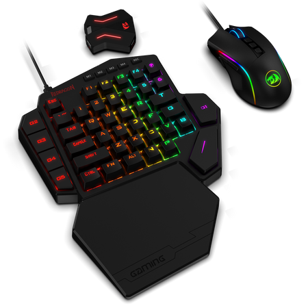 Redragon K585 One-handed RGB Gaming Keyboard and M721-Pro Mouse Combo with GA200 Converter for Xbox One, PS4, Switch, PS3 and PC, Blue Switch