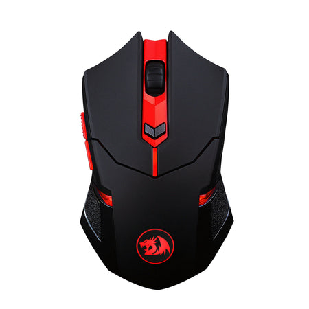 Redragon M601-WL-BA Wireless Gaming Mouse and Mouse Pad Combo, Ergonomic, Programmable 6 Buttons, 2400 DPI, Red LED Mouse, Large Mouse Pad for Windows PC Games - Black [Mouse Pad Cordless Mouse Set]