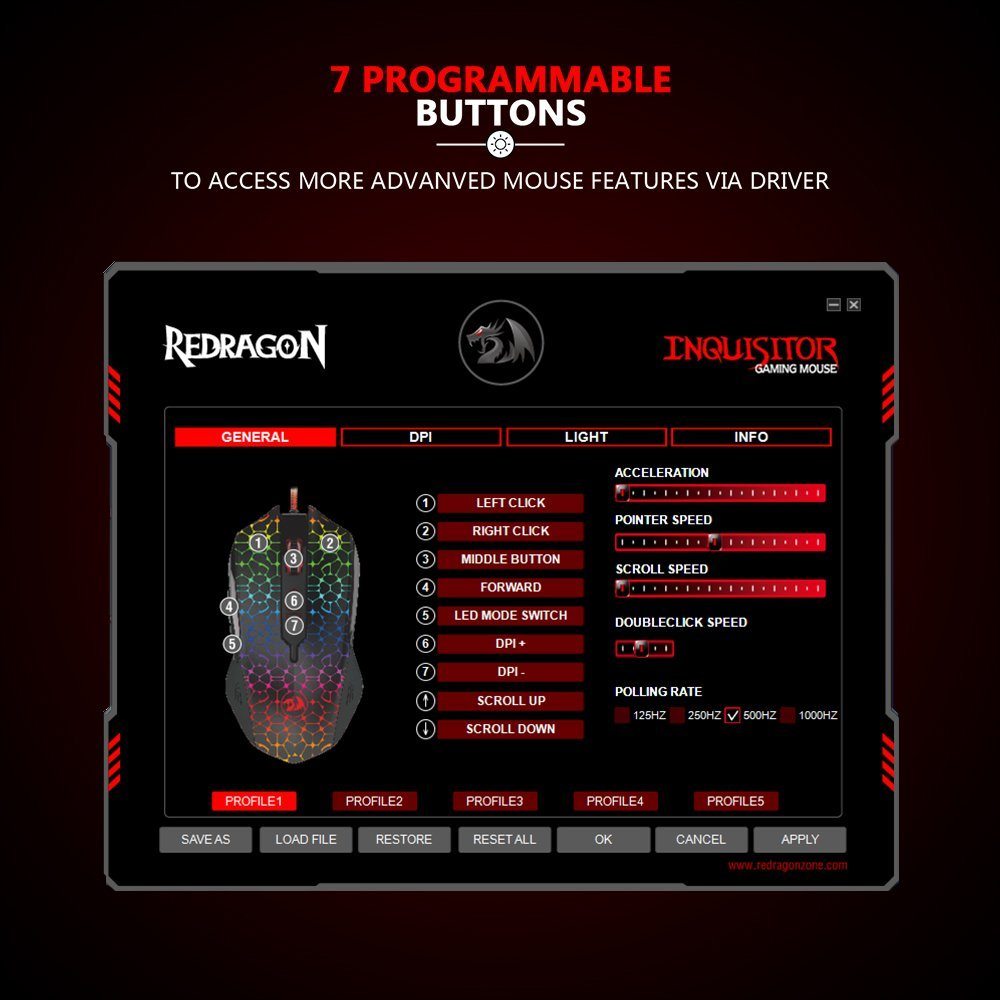 Redragon M716 INQUISITOR RGB Gaming Mouse – REDRAGON ZONE