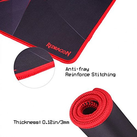 Redragon P012 Mouse Pad with Stitched Edges, Premium-Textured Mouse Mat, Non-Slip Rubber Base Mousepad for Laptop, Computer & PC, 12.8 x10 x0.11 inches