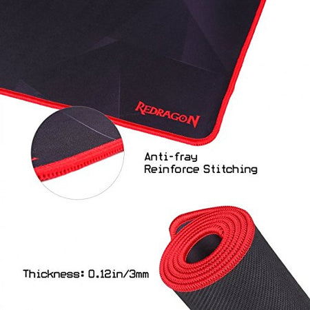 Redragon P015 Large Extended Mouse Pad XXL, with Stitched Edges, Premium-Textured Mouse Mat, Non-Slip Water-Resistant Rubber Base Cloth Computer Mousepad, 35.8 x 11.8 x 0.11 inches