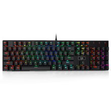 Redragon K556 Red Switches RGB LED Backlit Wired Mechanical Gaming Keyboard, Aluminum Base, 104 Standard Keys
