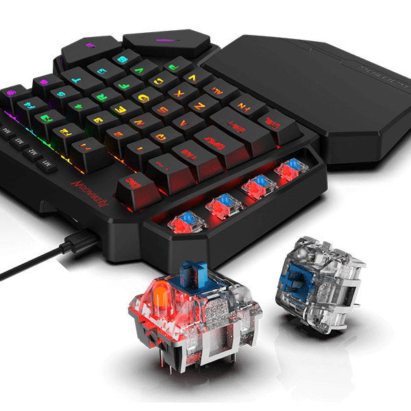 Redragon K585 DITI One-Handed RGB Mechanical Gaming Keyboard, Blue  Switches, Professional Gaming Keypad with 7 Onboard Macro Keys, Detachable  Wrist