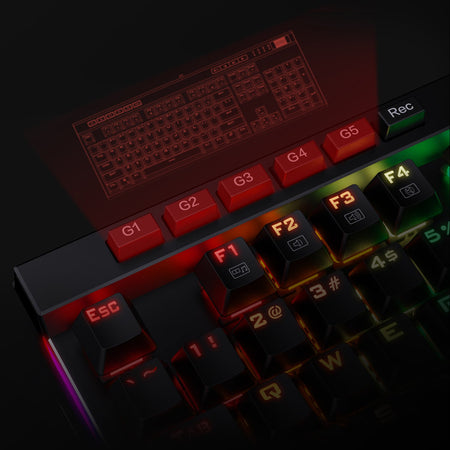 Redragon K580-PRO RGB Backlit Mechanical Gaming Keyboard 104 Keys Anti-ghosting with Macro Keys & Dedicated Media Controls, Onboard Macro Recording Optical Brown Switches