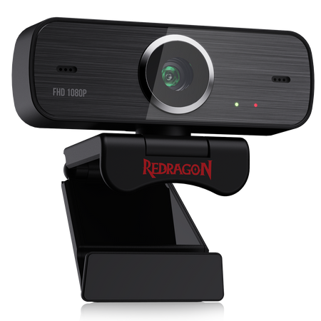 Redragon GW800 1080P Webcam with Built-in Dual Microphone 360-Degree Rotation - 2.0 USB Skype Computer Web Camera