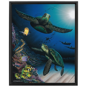 """Honu Reef"" Framed Traditional Stretched Canvas"