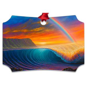 """Sunset at Shark's Cove"" Metal Ornaments"