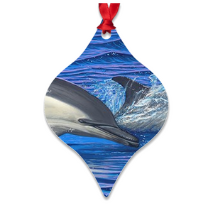 """Dolphin Blue"" Metal Ornaments"