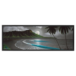 """Moonrise Waikiki"" Framed Traditional Stretched Canvas"