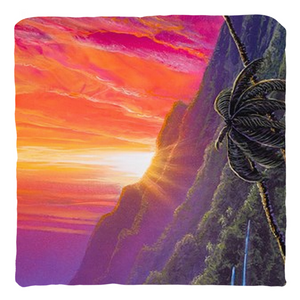 """Sunrise Over Kualoa"" Throw Pillows"