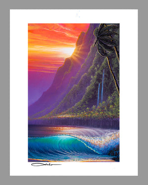 """Sunrise Over Kualoa"" 11"" x 14"" Matted Print"