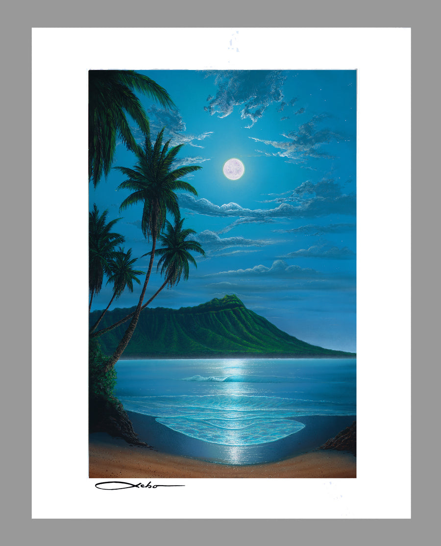 """Diamond Head Moon"" 11"" x 14"" Matted Print"