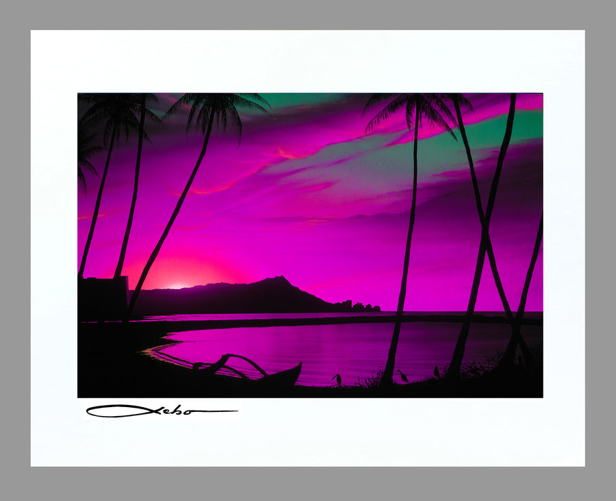 """Diamond Head Pink Sunrise"" 11"" x 14"" Matted Print"