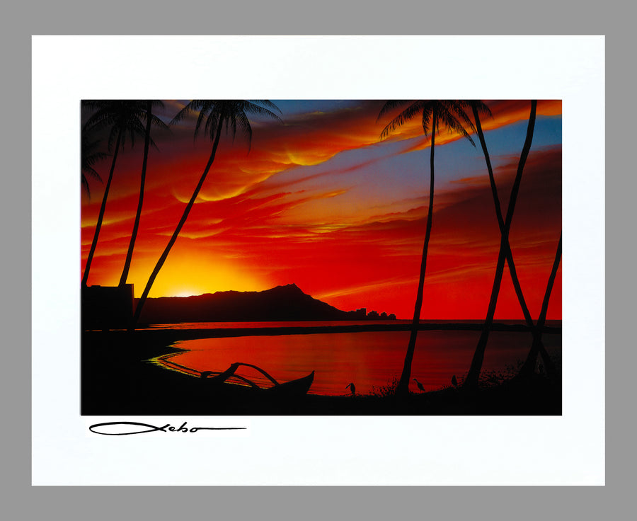 """Diamond Head Sunrise"" 11"" x 14"" Matted Print"