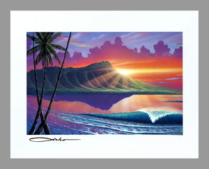 """Early Waikiki"" 11"" x 14"" Matted Print"