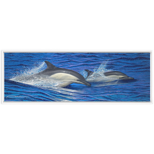 """Dolphin Blue"" Framed Traditional Stretched Canvas"