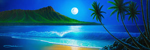 """Blue Hawaii"" Original Painting on 12"" x 36"" X 2"" Cradled Gesso Panel"