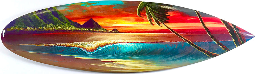 """Cherry Sunset"" Original Painting on Mini Surfboard"