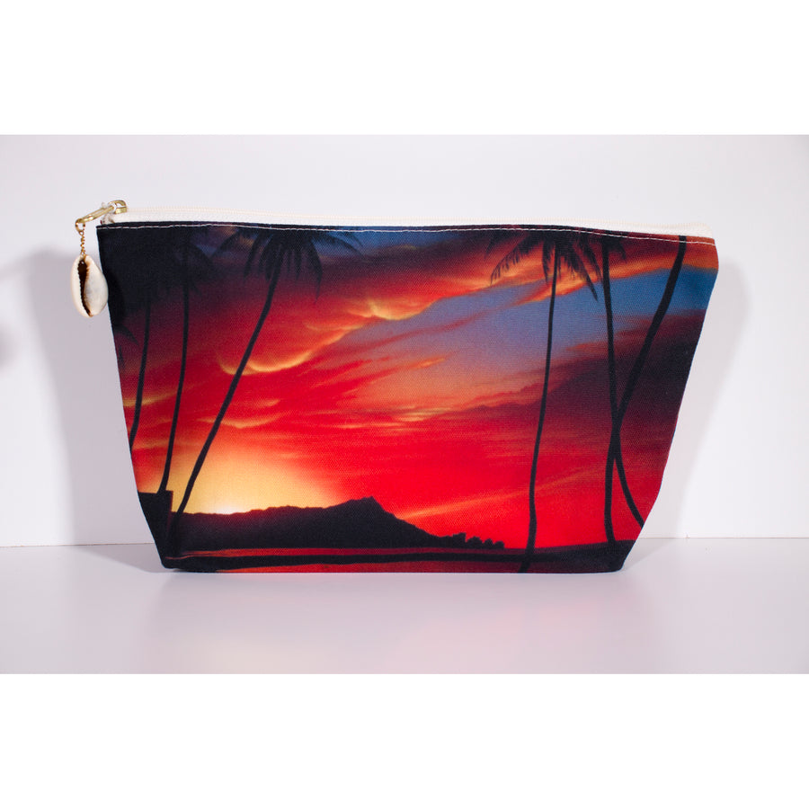 """Diamond Head Sunrise"" Accessories Pouch - SeboArt.com"
