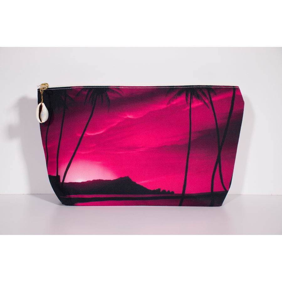 """Diamond Head Pink Pink Sunrise"" Accessories Pouch - SeboArt.com"