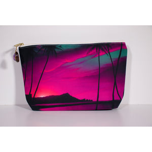 """Diamond Head Pink Sunrise"" Accessories Pouch - SeboArt.com"