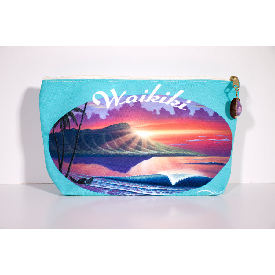 """Diamond Head Waikiki"" Accessories Pouch - SeboArt.com"