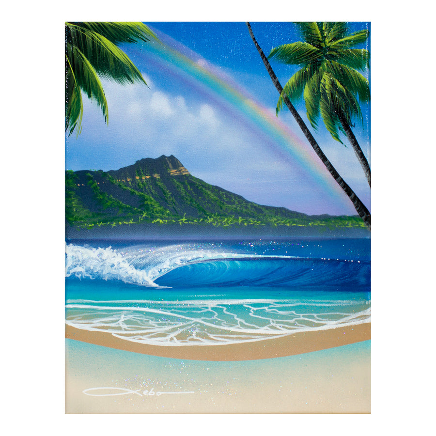 """Daytime Beach Diamond Head"" Original Painting on 11"" x 14"" Canvas - SeboArt.com"