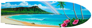"""Diamond Head Dream"" (SOLD) Original Painting on 55"" inch wooden Surfboard replica"