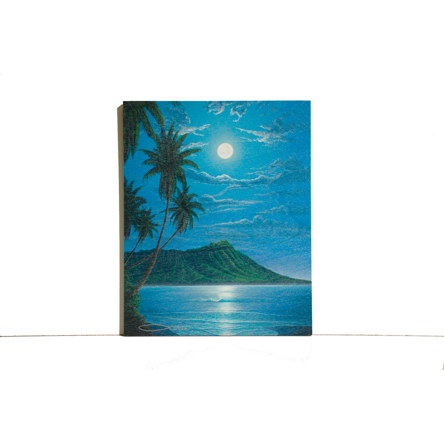 """Diamond Head Moon"" Wood Block Print - SeboArt.com"