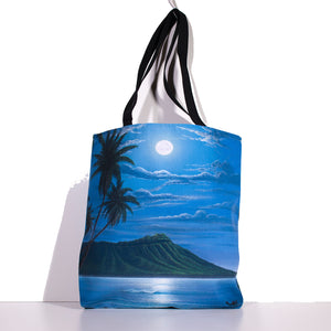 """Diamond Head Moon"" Tote Bag - SeboArt.com"