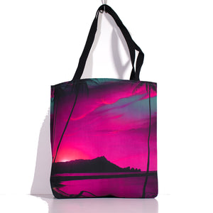 """Diamond Head Pink Sunrise"" Tote Bag - SeboArt.com"
