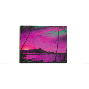 """Diamond Head Pink Sunrise"" Wood Block Print - SeboArt.com"