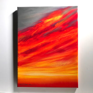 """Fiery Sky"" Original Painting on 11"" x 14"" Canvas"