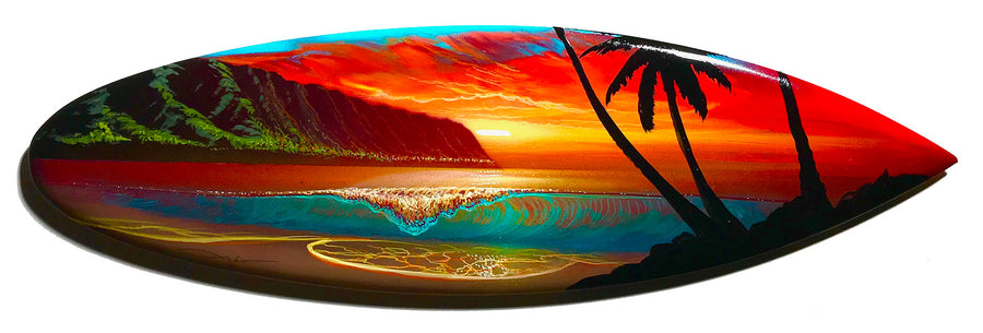 """Haleiwa Love"" Original Painting on Mini Surfboard"