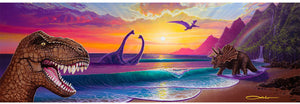 """Jurassic Paradise"" Original Painting on 10"" x 30"" Gesso Panel"