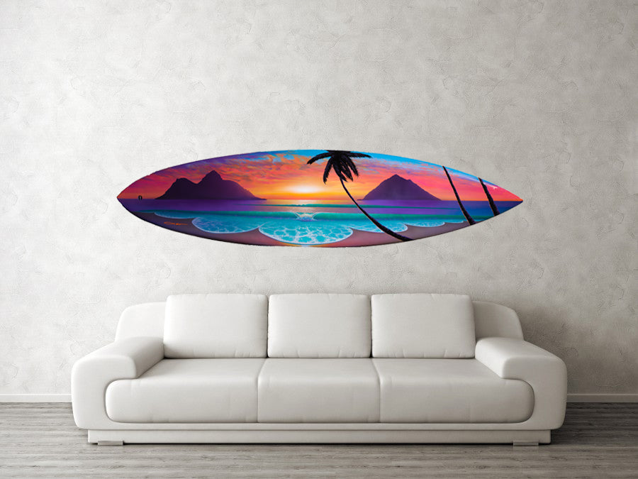 """Lani Kai Dream"" Original Painting on 6 foot 6 inch real surfboard"