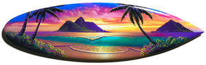 """Lanikai Glory"" Original Painting on Mini Surfboard"